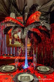 red and black ostrich feather centerpiece
