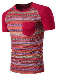 Geometric Tribal Print Color Block Pocket T Shirt Red L In T