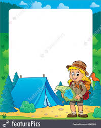 summer frame with scout girl theme 2 stock ilration i5435919 at featurepics
