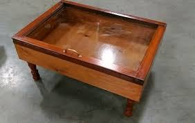 wood shadow box coffee table military display case walnut il full