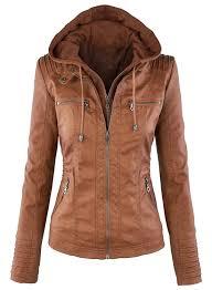 women s fashion faux leather jacket with detachable hood roawe com loading zoom