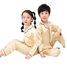 Children Silk Pajama <b>Set 2019 Spring</b> Summer Girls <b>Boys</b> Silk ...