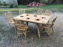ceramic bamboo chairs and table 1950s