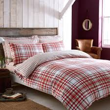 red and white duvet cover ikea check brushed cotton reversible main