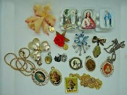 lot of mostly vine catholic religious jewelry pins medals etc one blue enamel
