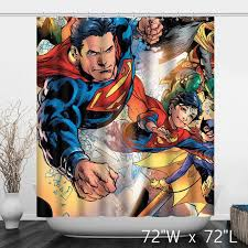 dc comics superman rebirth previewscvr marquee hero comics shower curtain