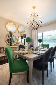 Amanda Carol Interiors Emerald Green, gold mirrors, weathered wood dining  table, Restoration Hardware Stone paint color home decor and interior  decorating ...