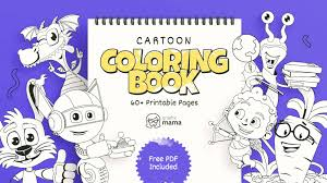 Find pages of fun animals, flowers, places, or objects to color. Cartoon Coloring Book 60 Free Printable Pages Pdf By Graphicmama Graphicmama Blog