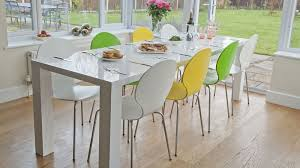 white and black dining room table. White Gloss Extending Dining Table And Coloured Chairs Black Room O