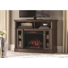tv stand infrared bow front electric fireplace in simply brown