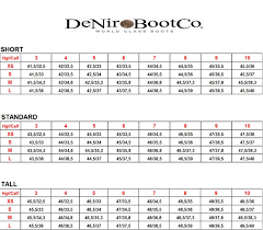 Calf Size Boots Chart Size Guide Size Chart For De Niro Standard Boots The