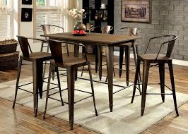 cooper industrial inspired metal frame counter height 7pcs dining table set