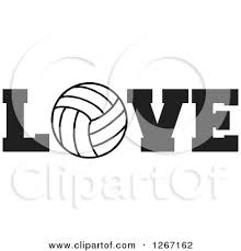 Volleyball Word Black And White Volleyball As The Letter O In The Word Love