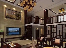 Villa living room interior design with Chinese classical decorative elements