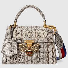 Snakeskin Designer Bags Gucci Queen Margaret Small Snakeskin Top Handle Bag Bags