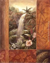 tropical waterfall ii painting vivian flasch tropical waterfall ii art painting