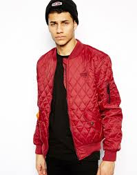 Criminal damage Quilted Bomber Jacket in Red for Men | Lyst & Gallery Adamdwight.com