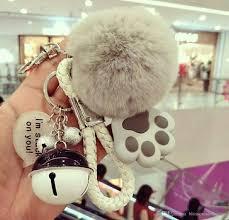 Fur Keychain Designer Korea Creative Fashion Meow Star Keychain Female Cute Cat Claw Rex Rabbit Fur Ball Audible Car Key Chain Customized Keychains Designer Keychains From