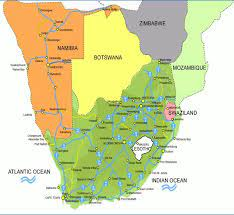 Güney Afrika ve Güney Afrika)Güney Afrika ve komşu ülkeler haritası - Güney  Afrika Haritası ve komşu ülkeler