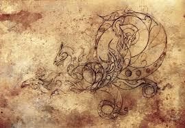 Ozdobné Drak Tetování Kreslení Vinobraní Papír Stock Fotografie