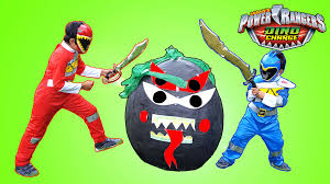 Power Rangers Dino Charge Giant Toys Surprise Egg Opening Red and.