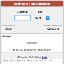Decimal To Time Calculator