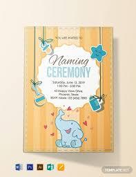 Free Elegant Naming Ceremony Invitation Template Word