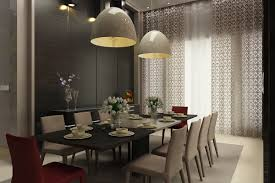 black and beige magnificent dining room with modern pendant lamps lighting idea