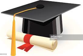 cartoon graduation cap and diploma red ribbon vector art  cartoon graduation cap and diploma red ribbon vector art