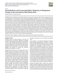 Social resilience and commercial fishers' responses to management changes  in the Great Barrier Reef Marine Park