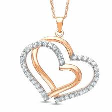 lab created white sapphire double heart pendant in sterling silver with 14k rose gold plate