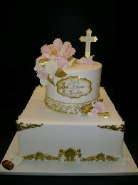 Gold White And Pink Baptismal Cake R061 Circos Pastry Shop