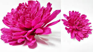 Dahlia Flower Making With Paper Dahlia Crepe Paper Flower Diy Making Tutorial Paper Flowers Easy For Kids For Beginners