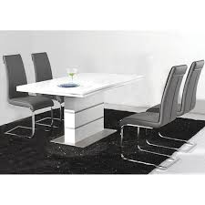 awesome dining set with white high gloss dining table with metal base and black upholstered dining