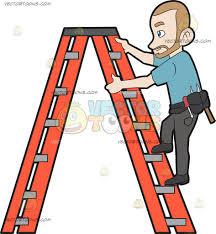 a construction worker climbing up the ladder cartoon clipart a construction worker climbing up the ladder