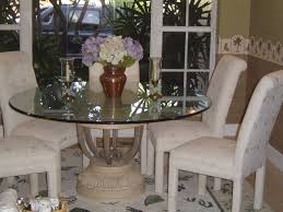 round glass dining table stone base tables