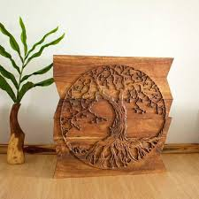 wall decor tree of life art carved wood panels in a on wall art wooden tree with tree of life carved wooden wall art elitflat