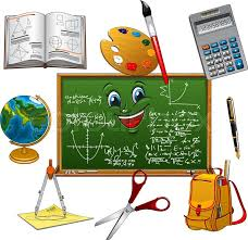 bag pen book calculator globe paint palette with brush scissors and pes arranged around clroom blackboard cartoon character with
