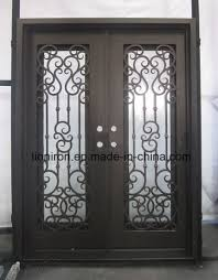 stumming arts and crafted exterior front iron sliding entry door