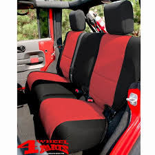 seat cover rear black red neoprene jeep