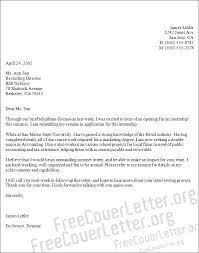 Cover Letter Accounting Internship Experience Resumes