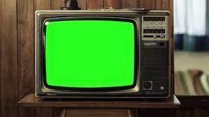 Old Tv Green Screen. Slow Zoom In Shot ...