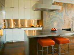 Make Stainless Steel Countertop Interior Honed Granite Countertop With Orange Square Stools And