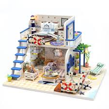 dollhouse miniature furniture. Simple Dollhouse Blue Coast Beach Villa Model Dollhouse Miniature Furniture DIY Kit With LED  Lights Wood Toy Dolls And U