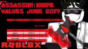 Roblox Assassin Value List June 2019