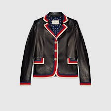embroidered leather jacket gucci women s leather casual jackets 458150xg3561073