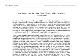 how serious was the threat posed to henry vii by pretenders to the document image preview