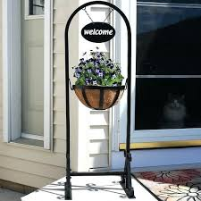 hanging basket planter stand with metal welcome sign inch beer signs for