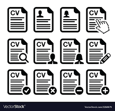 Cv - Curriculum Vitae Resume Icons Set Royalty Free Vector