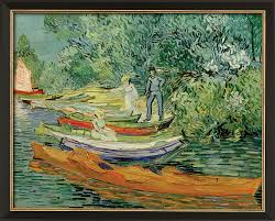vincent van gogh painting on the bank of oise in avers 1890 framed